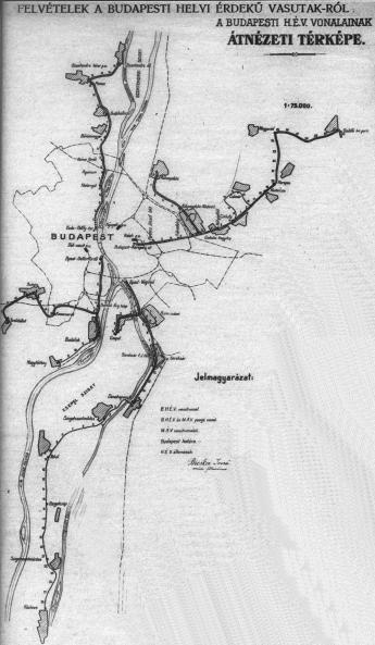 A Budapesti HÉV vonalak térképe