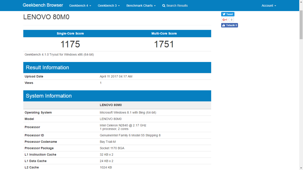 Geekbench Yoga