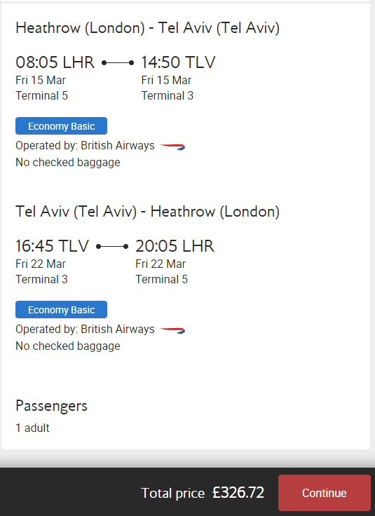 British Airways ATH - TLV (Return)