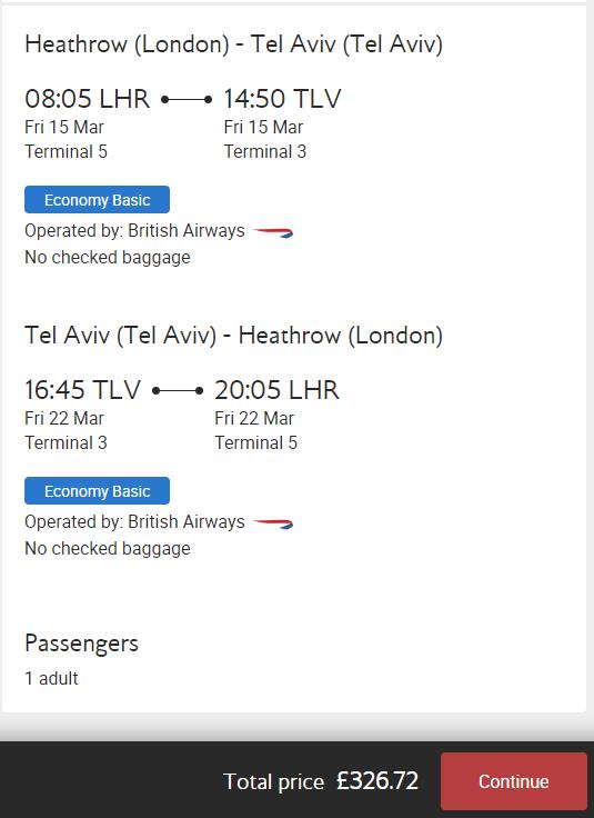 British Airways ATH - TLV (Return)